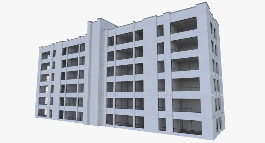 Apartment building one with interior full royalty-free 3d model - Preview no. 6