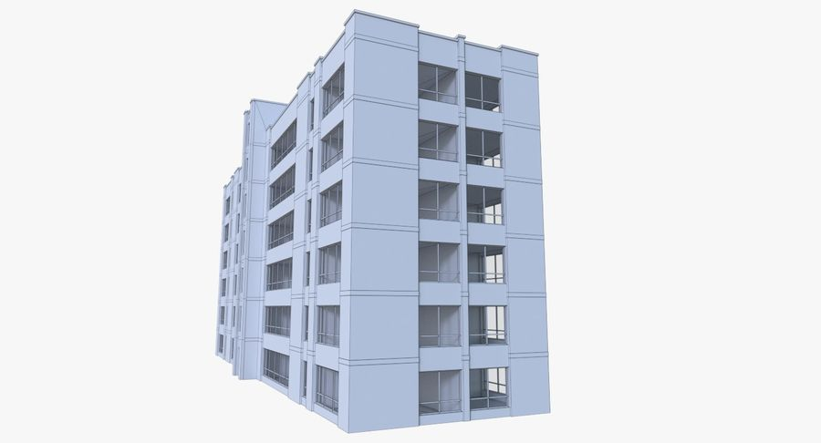 Apartment building one with interior full royalty-free 3d model - Preview no. 15