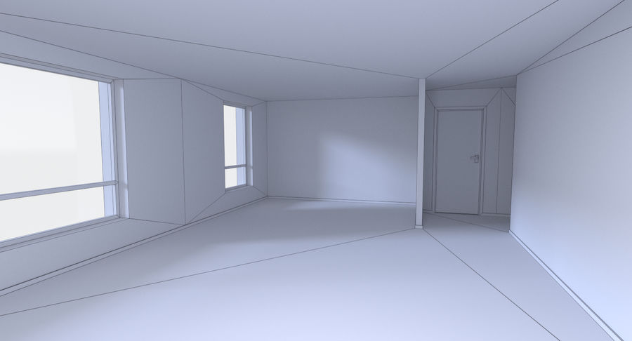 Apartment building one with interior full royalty-free 3d model - Preview no. 22