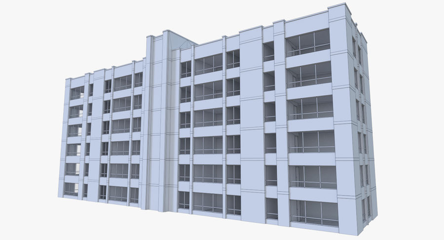 Apartment building one with interior full royalty-free 3d model - Preview no. 17