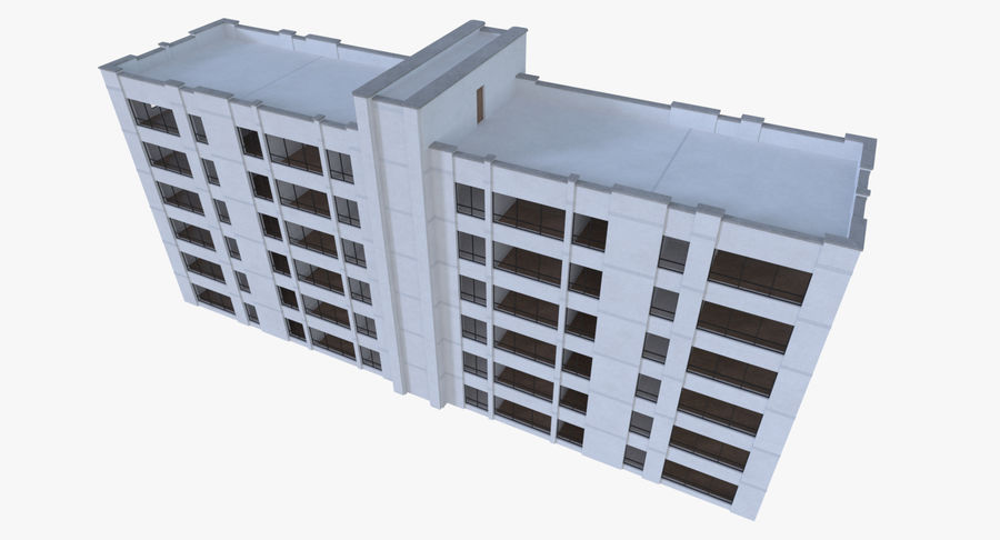 Apartment building one with interior full royalty-free 3d model - Preview no. 7