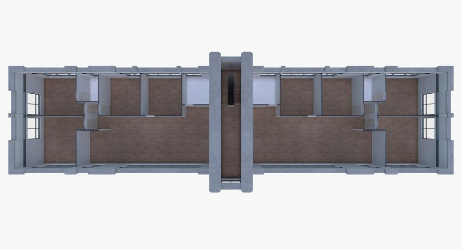 Apartment building one with interior full royalty-free 3d model - Preview no. 12
