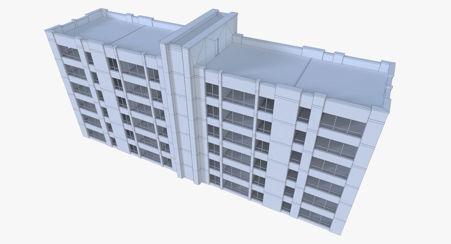 Apartment building one with interior full royalty-free 3d model - Preview no. 18