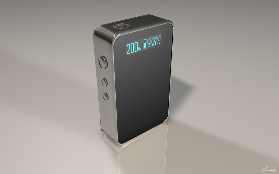 E-cig Box Mod  -  Attomizer royalty-free 3d model - Preview no. 2