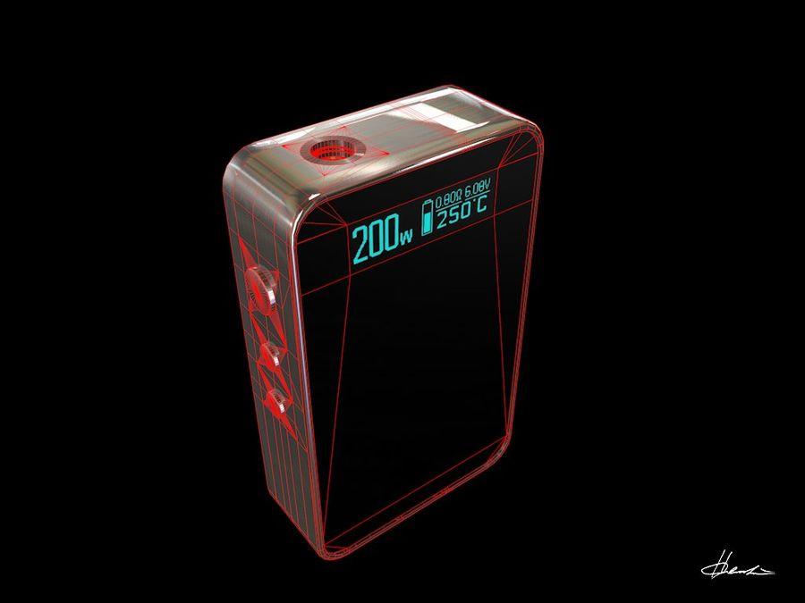 E-cig Box Mod  -  Attomizer royalty-free 3d model - Preview no. 12