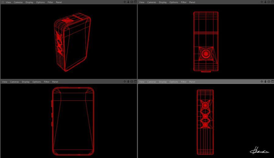 E-cig Box Mod  -  Attomizer royalty-free 3d model - Preview no. 9