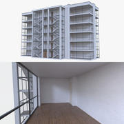 Apartment building five with interior full 3d model