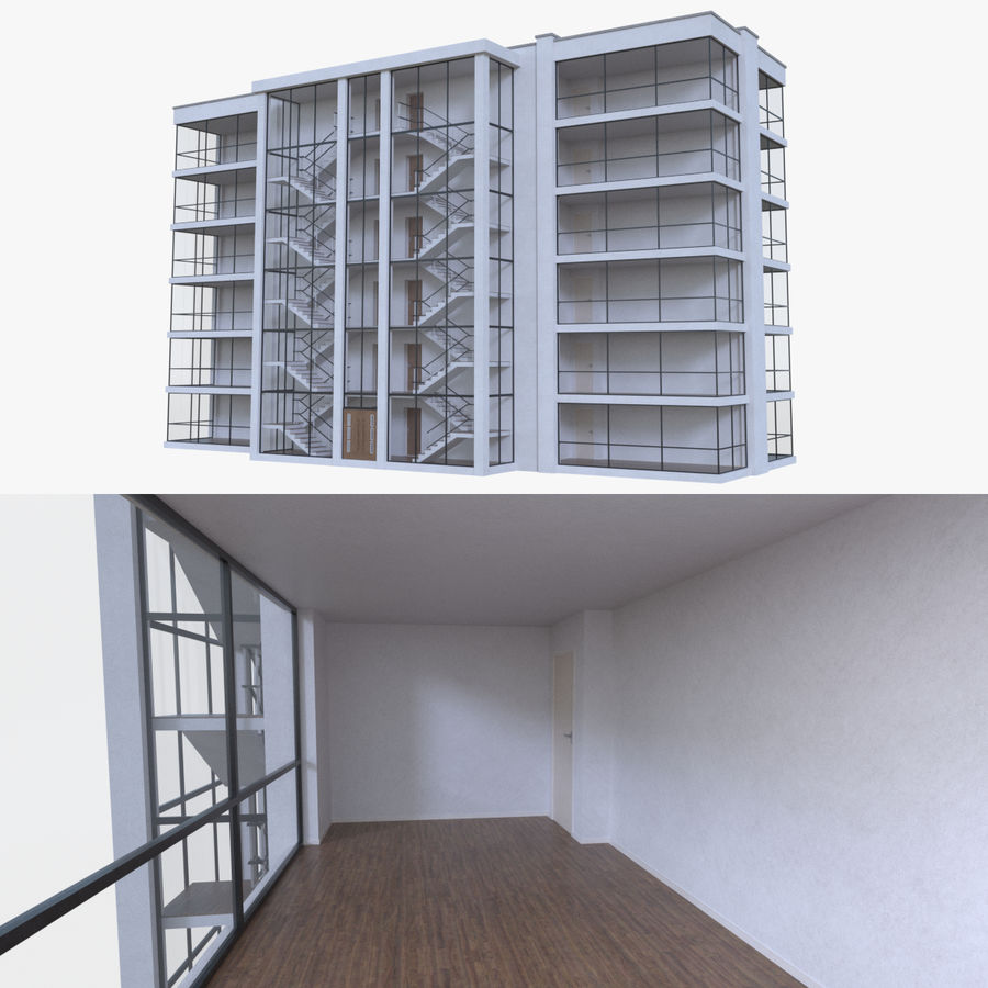 公寓楼五,内部装满 royalty-free 3d model - Preview no. 1