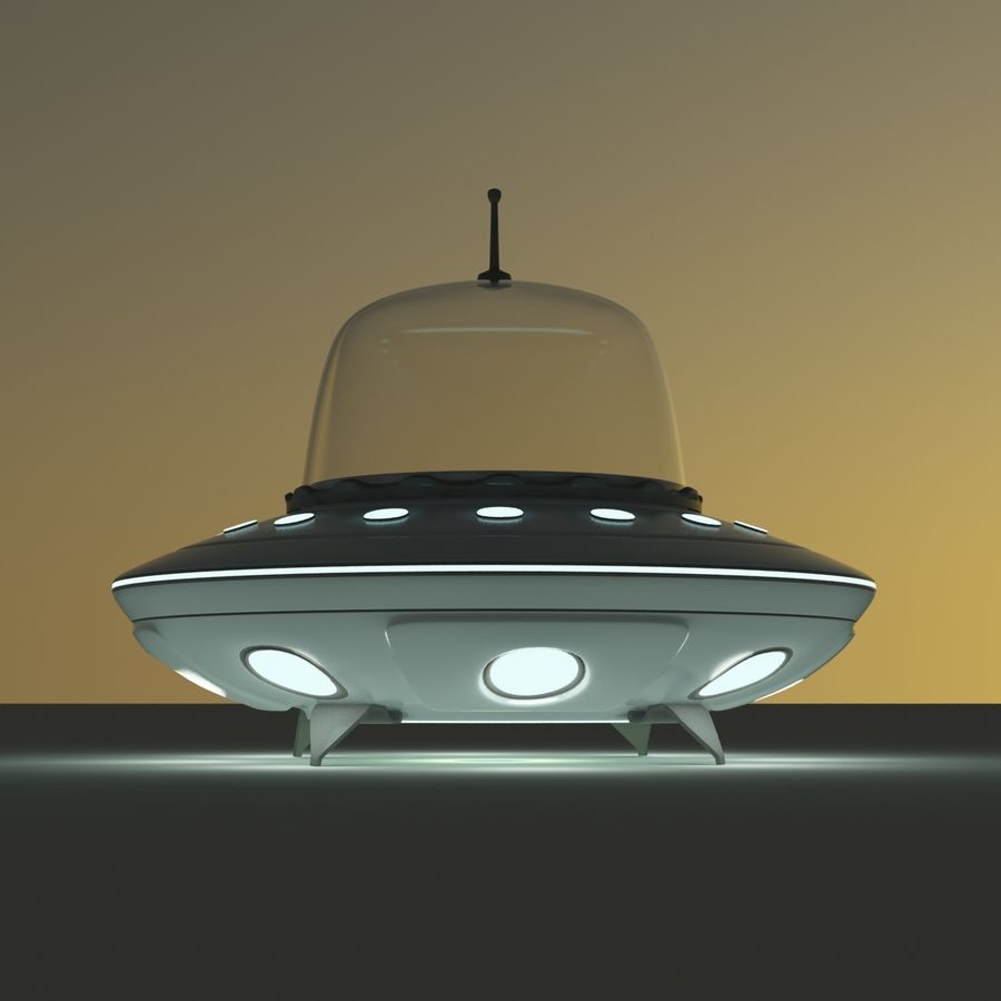 UFO Cartoon Style royalty-free 3d model - Preview no. 5