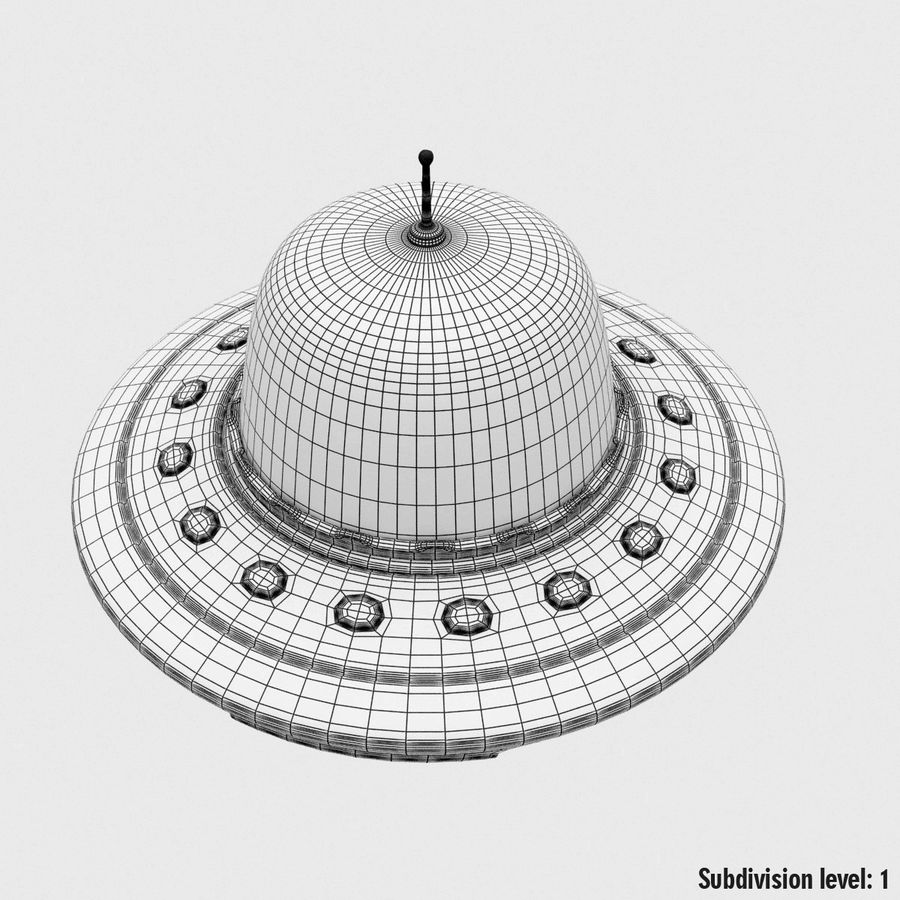 UFO Cartoon Style royalty-free 3d model - Preview no. 19