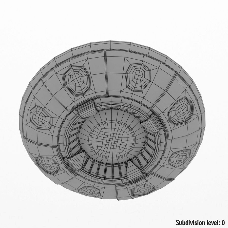 UFO Cartoon Style royalty-free 3d model - Preview no. 15