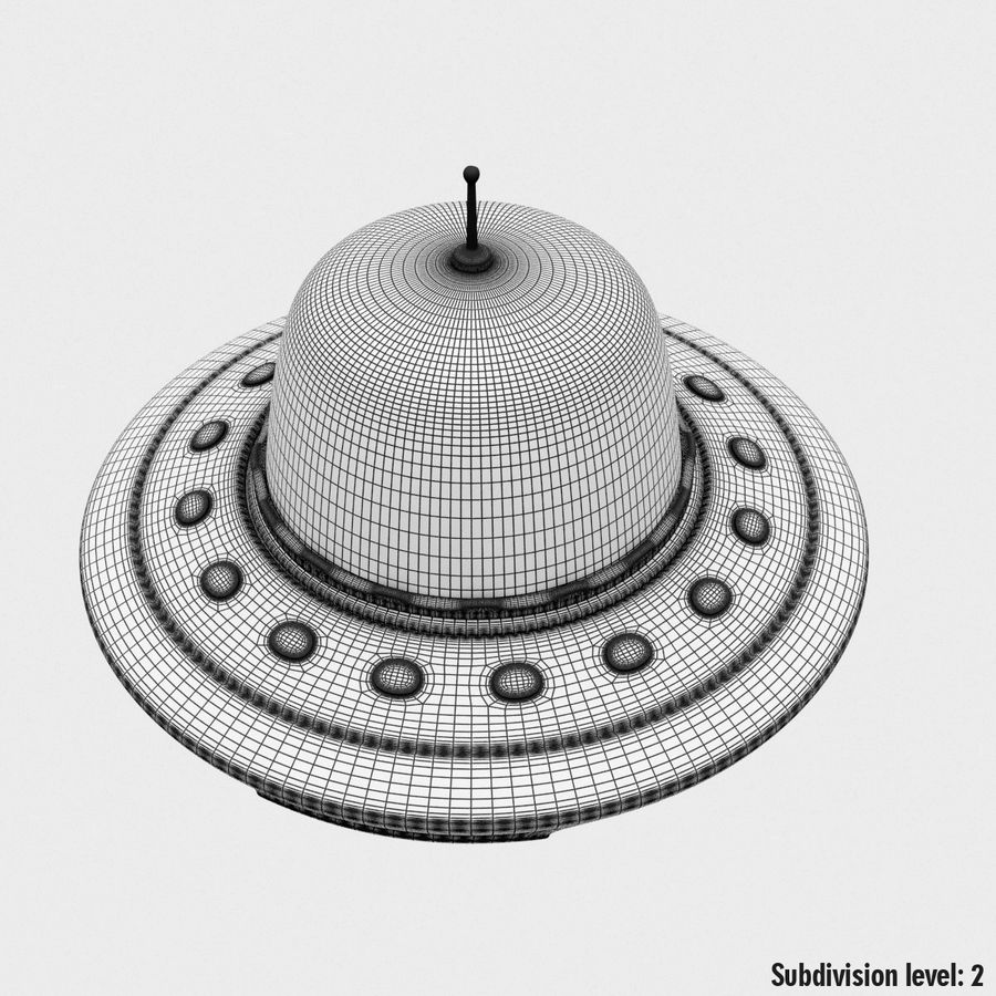 UFO Cartoon Style royalty-free 3d model - Preview no. 20