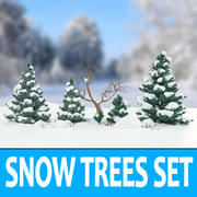 Snö Träd Set 3d model