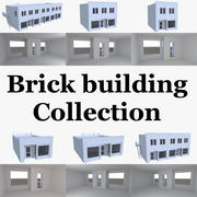 Brick building collection with interior 3d model