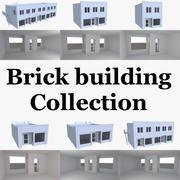 Tegelbyggnad med interiör 3d model