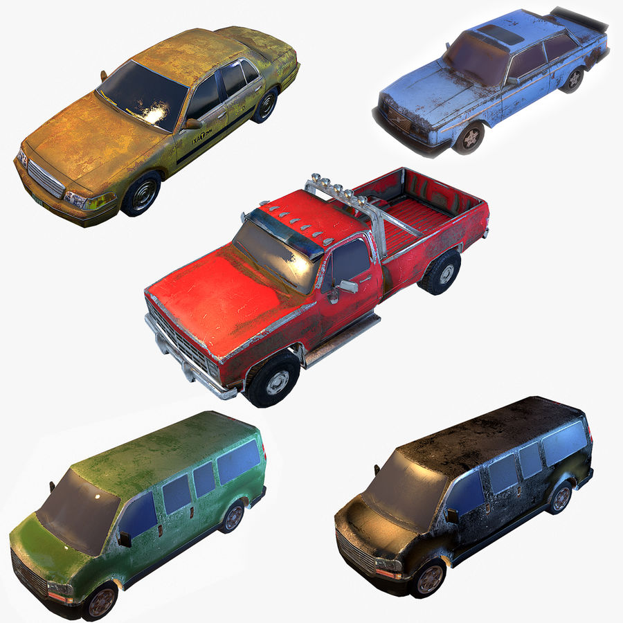 Rusty Car Collection royalty-free 3d model - Preview no. 1