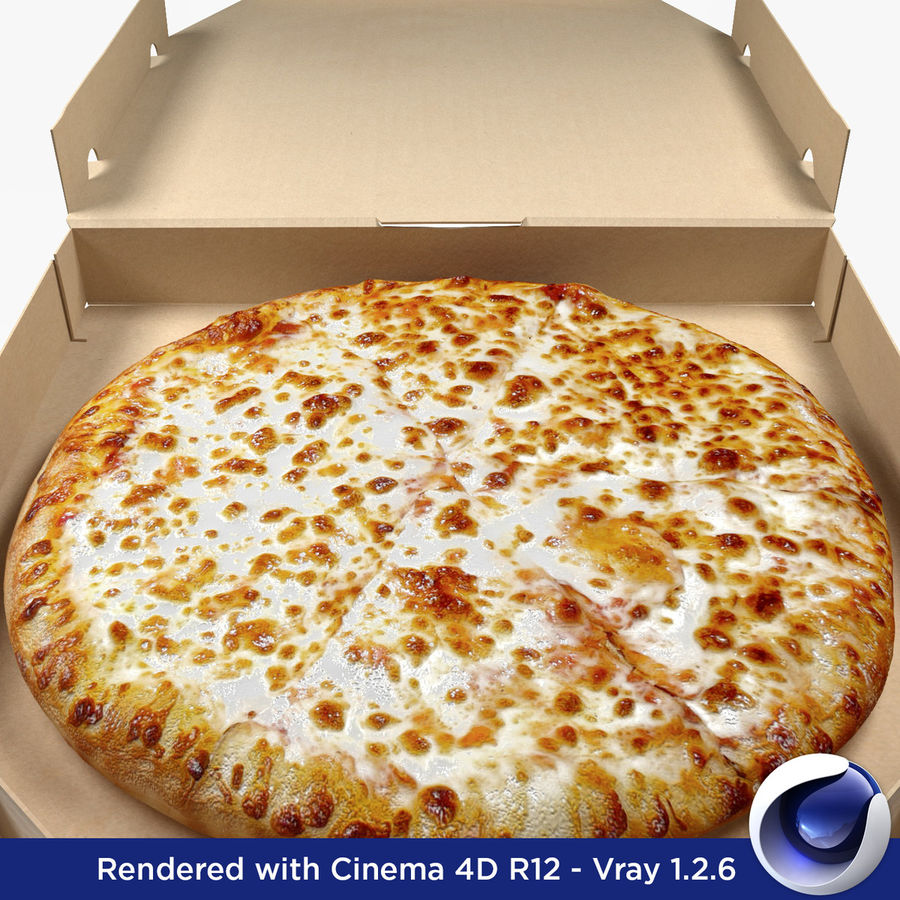 Käse-Pizza mit Box royalty-free 3d model - Preview no. 5