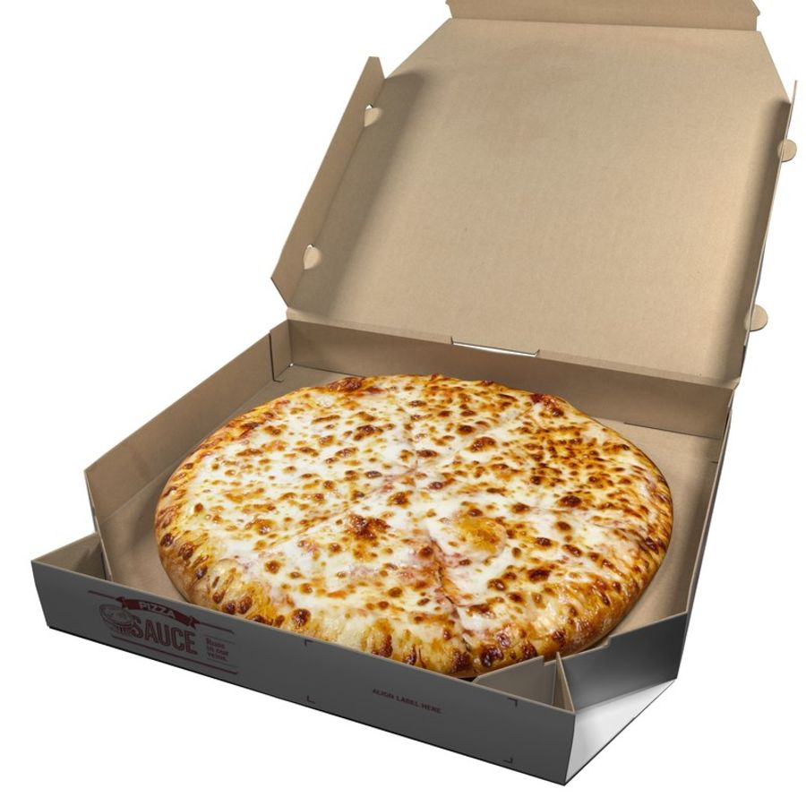 Käse-Pizza mit Box royalty-free 3d model - Preview no. 2