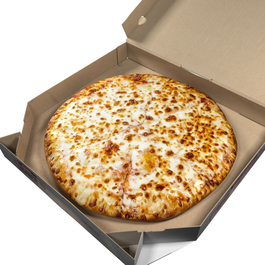 Käse-Pizza mit Box royalty-free 3d model - Preview no. 3