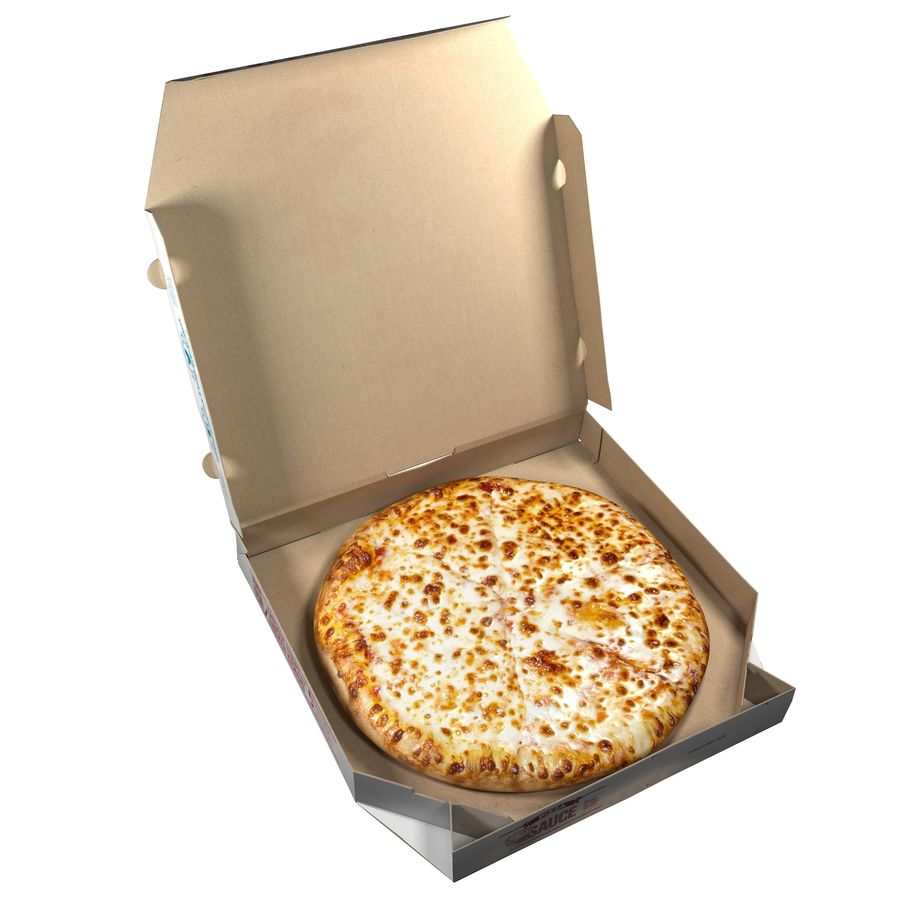 Käse-Pizza mit Box royalty-free 3d model - Preview no. 6