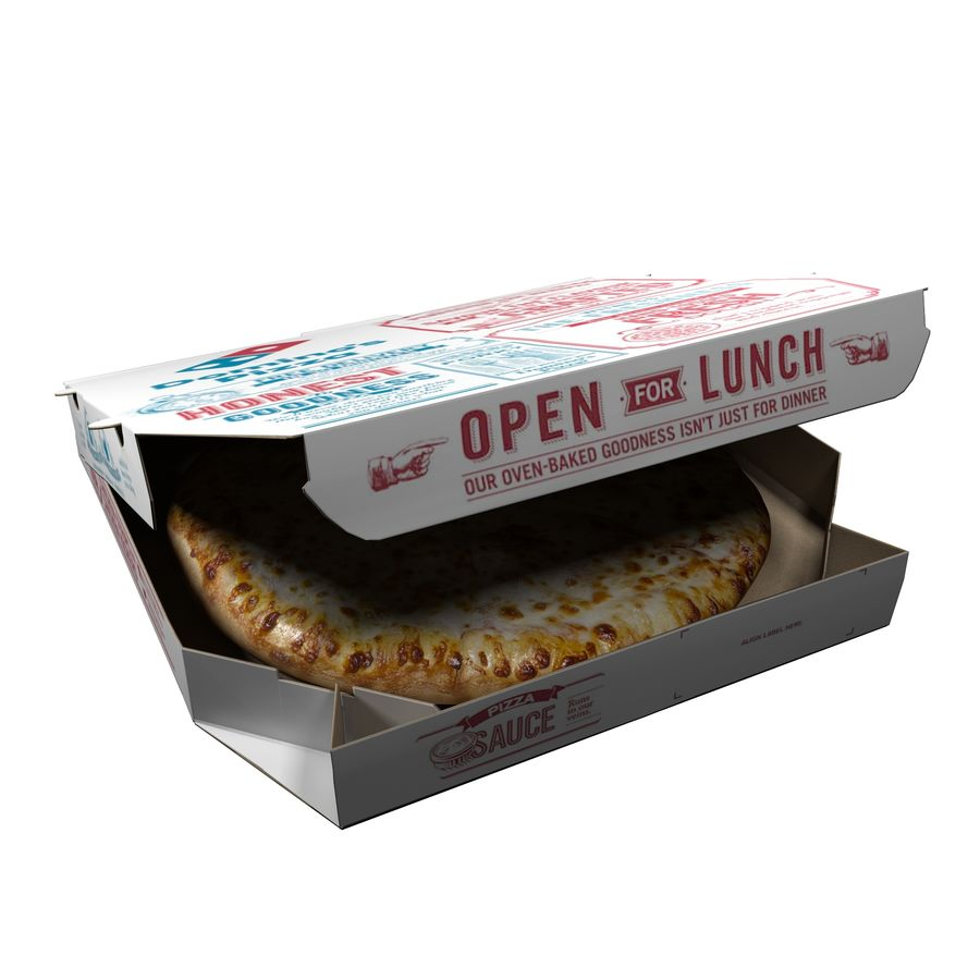 Käse-Pizza mit Box royalty-free 3d model - Preview no. 7