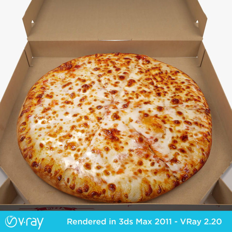 Käse-Pizza mit Box royalty-free 3d model - Preview no. 4