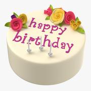 Torta di compleanno con candele 02 3d model