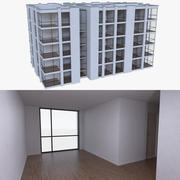 Apartment building four with interior full 3d model