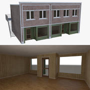 Brick building six with interior full 3d model