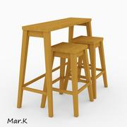 барный стол и стулья 3d model
