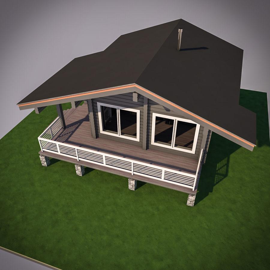 Europejska drewniana sauna z bali kąpielowych royalty-free 3d model - Preview no. 5