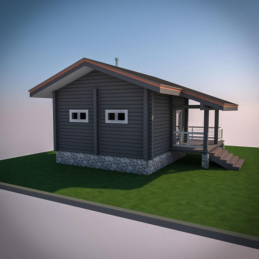 Europejska drewniana sauna z bali kąpielowych royalty-free 3d model - Preview no. 6