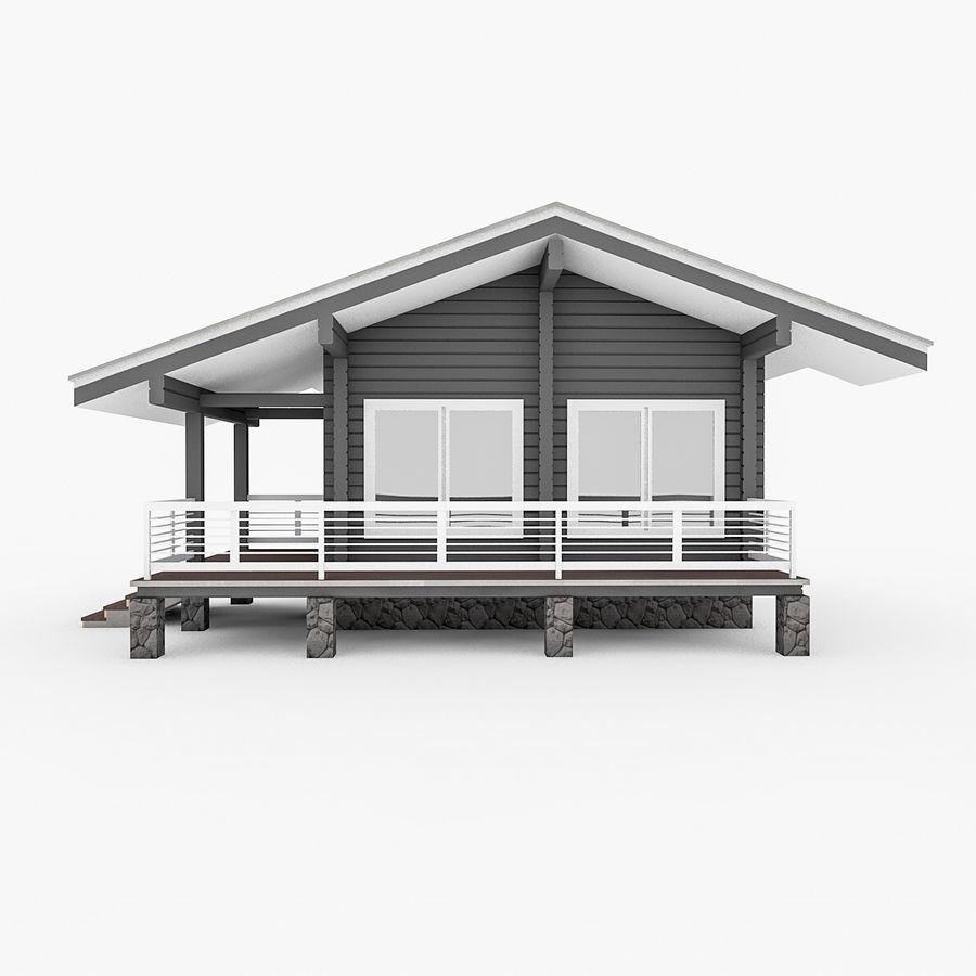 Europejska drewniana sauna z bali kąpielowych royalty-free 3d model - Preview no. 1