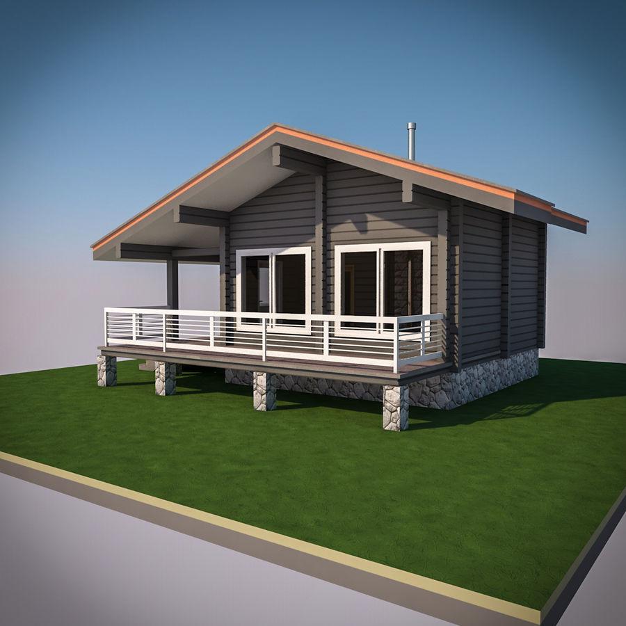 Europejska drewniana sauna z bali kąpielowych royalty-free 3d model - Preview no. 3