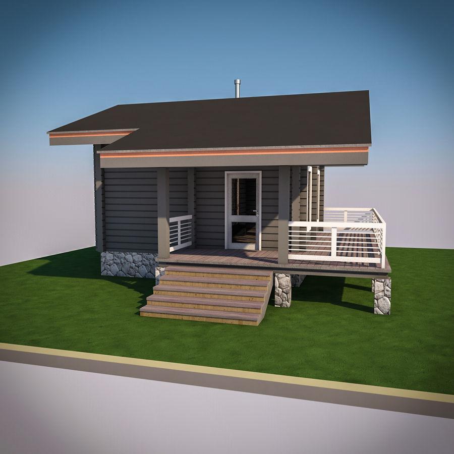 Europejska drewniana sauna z bali kąpielowych royalty-free 3d model - Preview no. 4