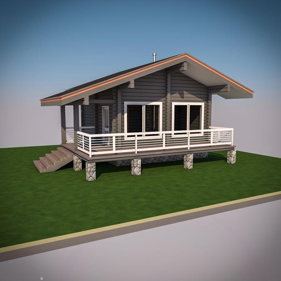 Europejska drewniana sauna z bali kąpielowych royalty-free 3d model - Preview no. 2