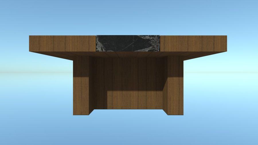 Salontafel - hout met marmeren detail royalty-free 3d model - Preview no. 4