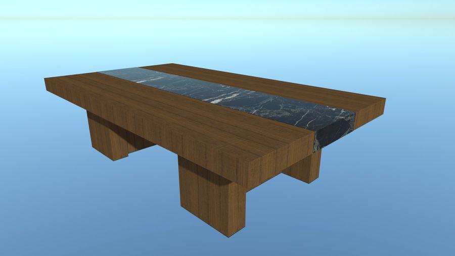 Salontafel - hout met marmeren detail royalty-free 3d model - Preview no. 2