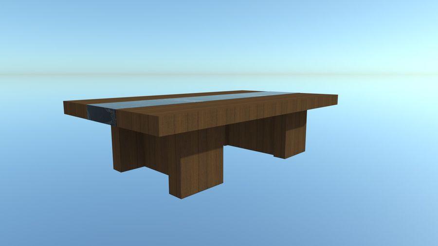 Salontafel - hout met marmeren detail royalty-free 3d model - Preview no. 1