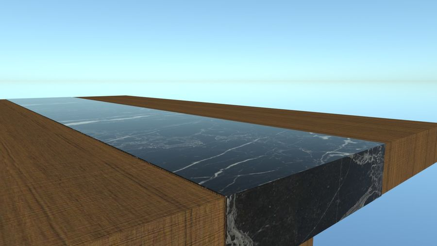 Salontafel - hout met marmeren detail royalty-free 3d model - Preview no. 6