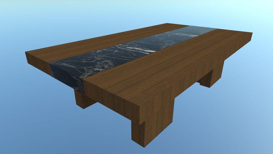 Salontafel - hout met marmeren detail royalty-free 3d model - Preview no. 5
