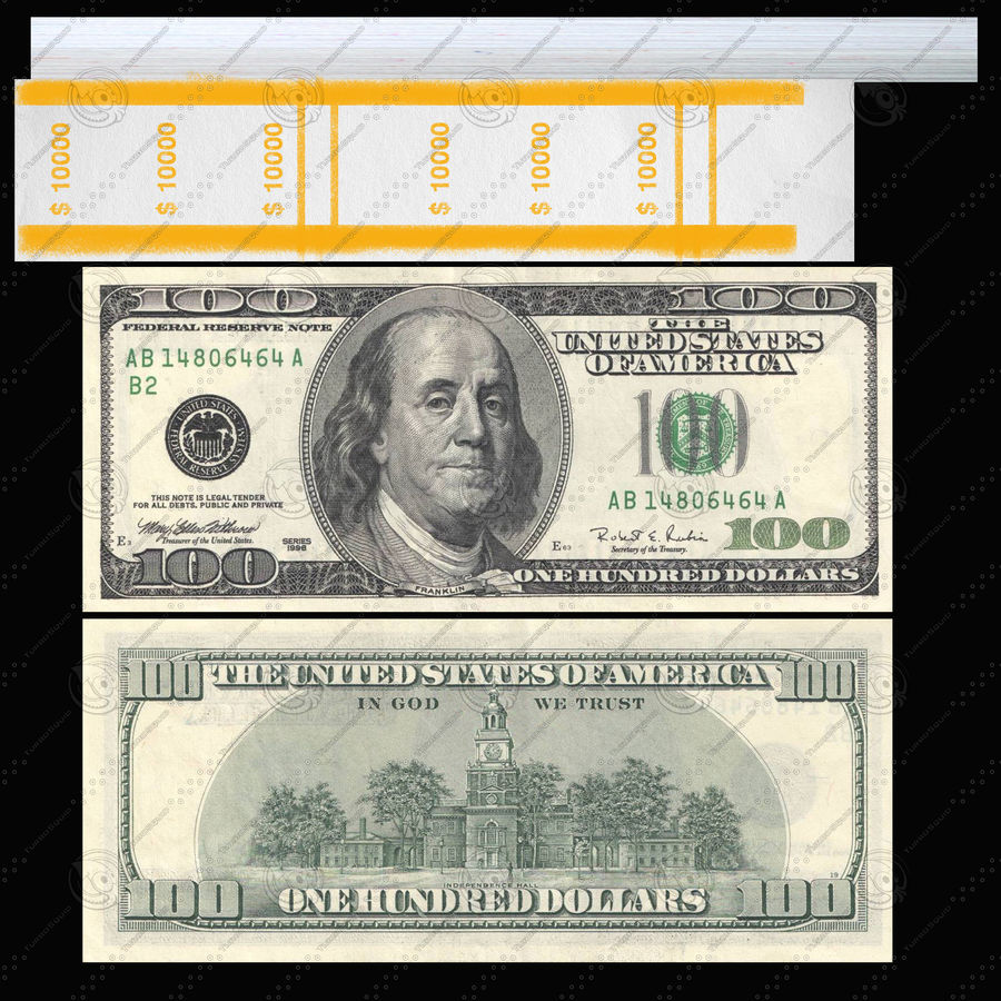 Dollar-Stapel royalty-free 3d model - Preview no. 6
