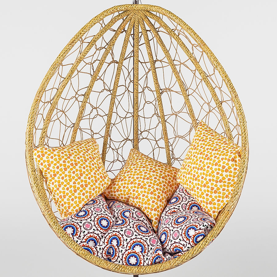 Swing wicker rattan royalty-free 3d model - Preview no. 3