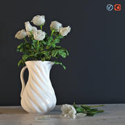 White roses in a jug 3d model