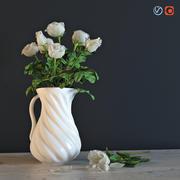 水差しの白いバラ 3d model