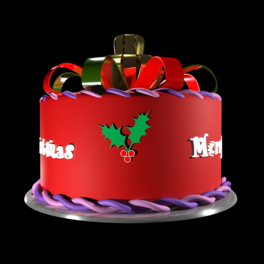 Christmas cake royalty-free 3d model - Preview no. 3