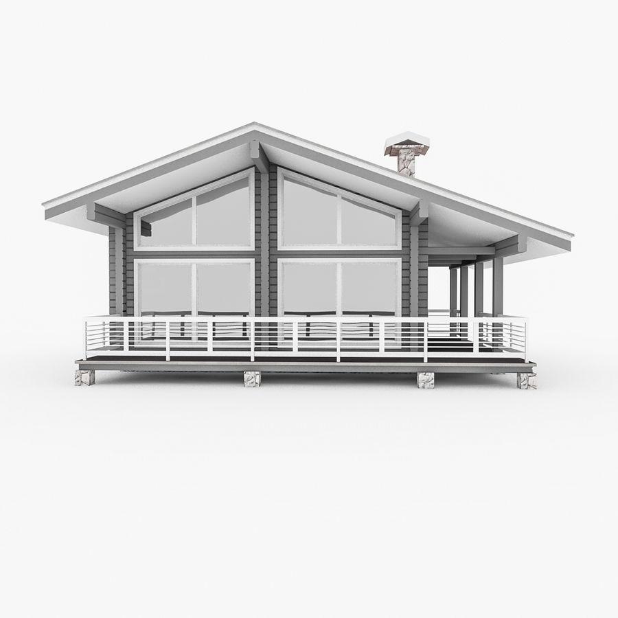 Europejski dom z bali drewnianych royalty-free 3d model - Preview no. 1