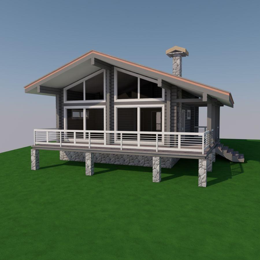Europejski dom z bali drewnianych royalty-free 3d model - Preview no. 3