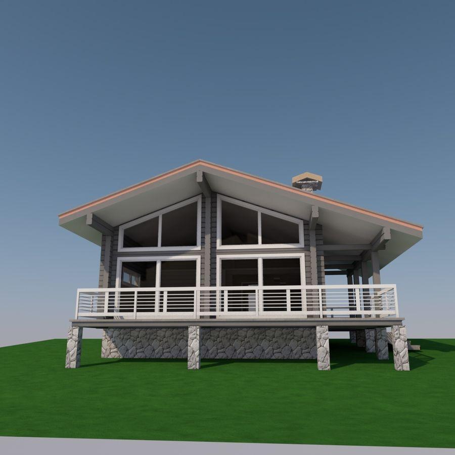 Europejski dom z bali drewnianych royalty-free 3d model - Preview no. 2