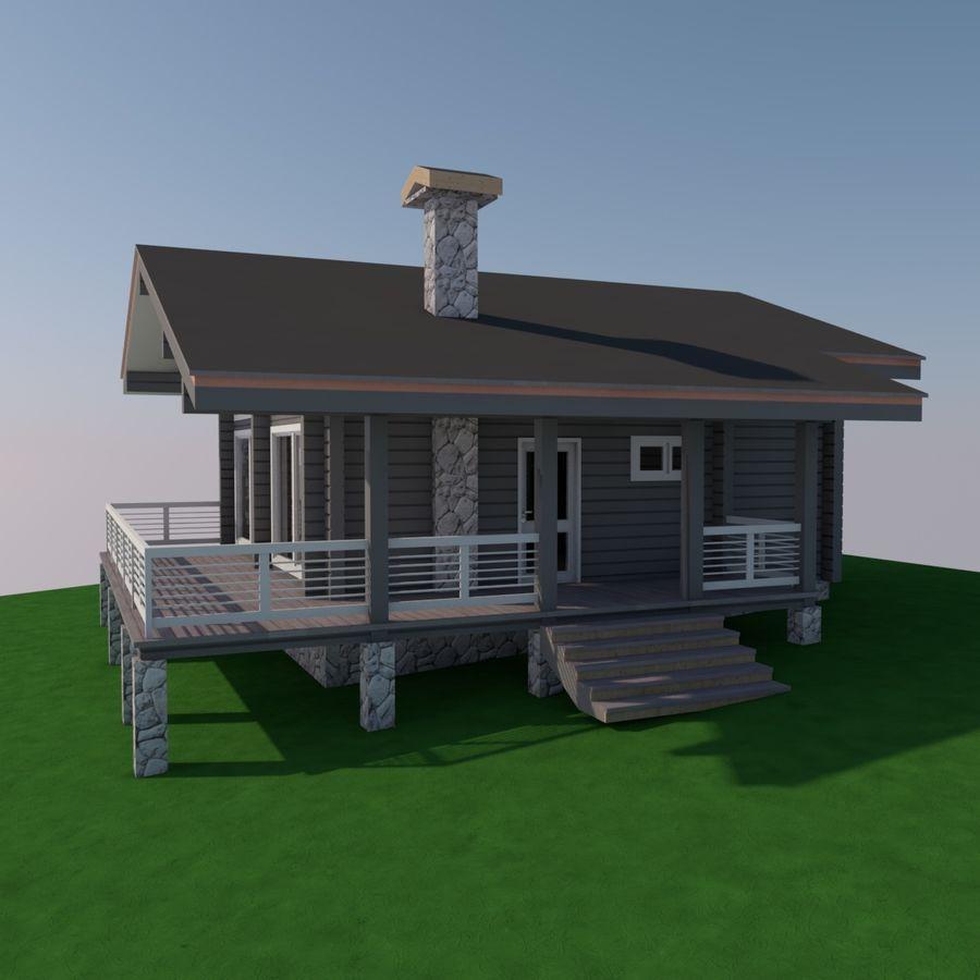 Europejski dom z bali drewnianych royalty-free 3d model - Preview no. 4